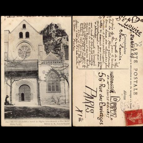 Carte postale 39 - Salins les Bains - Portail de l'Eglise Saint Anatole et Fort Belin