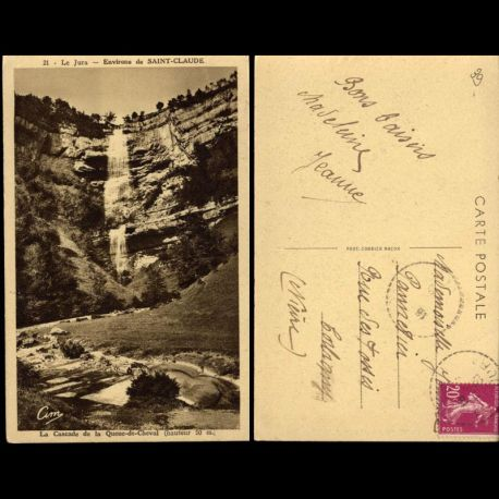 Carte postale 39 - Environs de Saint Claude - La cascade de la Queue de Cheval