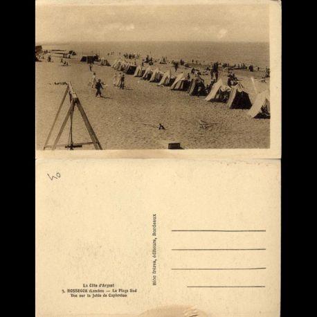 Carte postale 40 - Hossegor - La plage sud - Vue sur la jetée de Capbreton