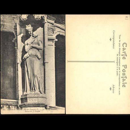 Carte postale 41 - Chateau de Blois - Aile François 1er - Le grand escalier - Statue de J. Go