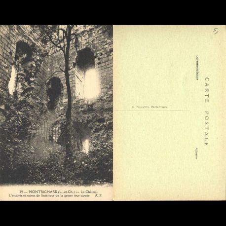 Carte postale 41 - Montrichard - Le chateau - L'escalier et ruines de la tour carrée