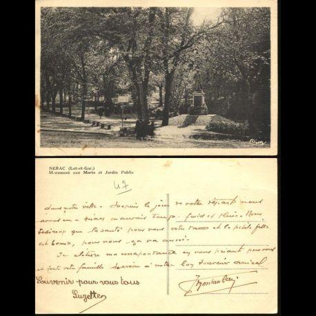 Carte postale 47 - Nerac - Monument aux Morts et jrdin public