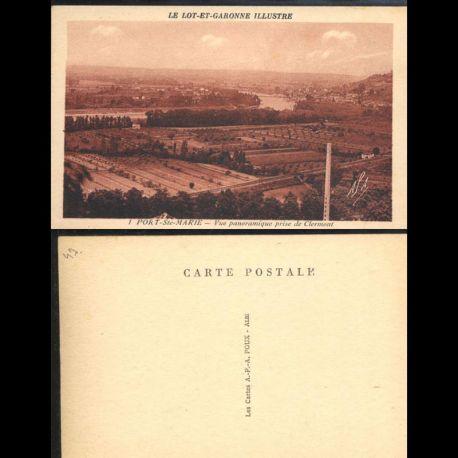Carte postale 47 - Port Sainte Marie - Vue panoramique prise de Clermont