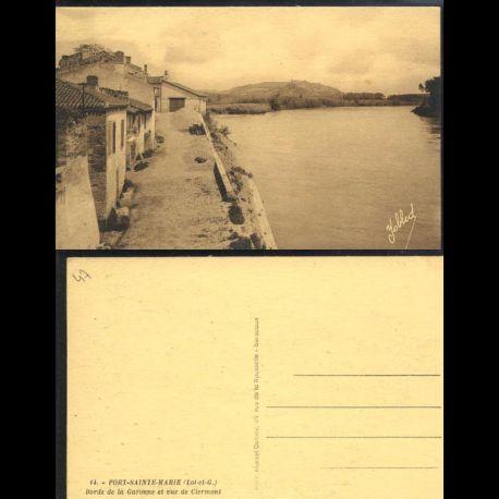 Carte postale 47 - Port Sainte Marie - Bords de la Garonne et vue de Clermont