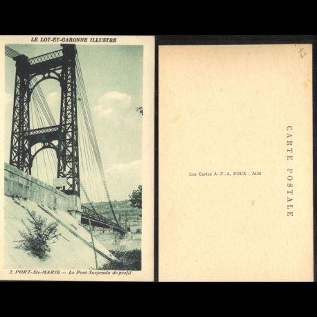 Carte postale 47 - Port Sainte Marie - Le pont suspendu de profil