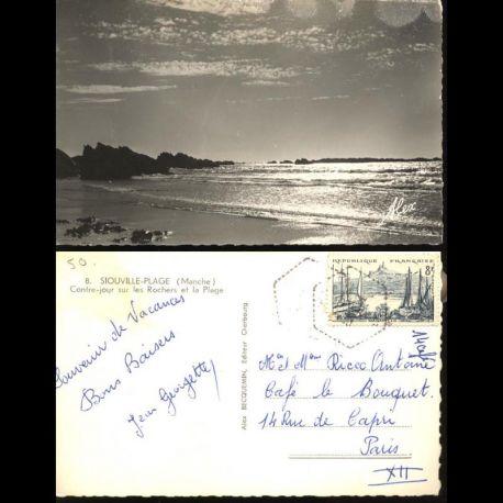 50 - Siouville plage - Contre jour sur les rochers et la plage