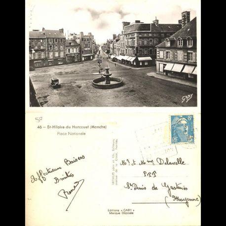 50 - Saint Hilaire du Harcouet - Place nationale - 1949 - Oblitération Daguin