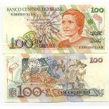 Beautiful banknote Brazil Pick number 228 - 100 Cruzeiro 1990