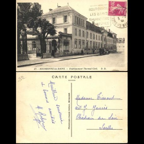 Carte postale 52 - Bourbonne les Bains - Etablissement thermal civil - Oblitération Daguin