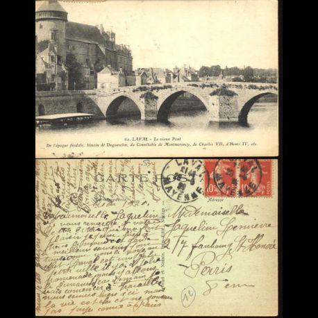 Carte postale 53 - Laval - Le vieux pont
