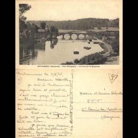 Carte postale 53 - Entrammes - Port Rhingeard - Le pont sur la Mayenne