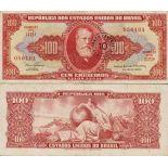 Los billetes de banco Brasil Pick número 185 - 100 Cruzeiro 1966