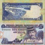 Schone Banknote Brunei Pick Nummer 13 - 1 Dollar 1989