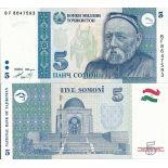 Sammlung von Banknoten Tadschikistan Pick Nummer 15 - 5 Somoni