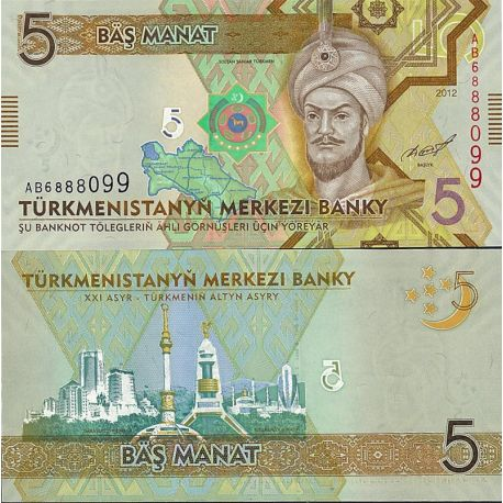 Turkmenistan - Pk N° 23 - Billet de 5 Manats