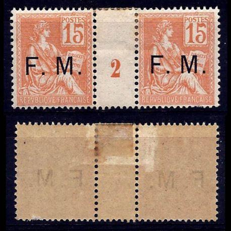 Timbre France FM N° 1 en paire millésimée avec charnière
