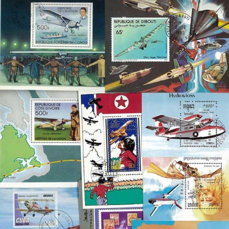 Collection de blocs Avions oblitérés