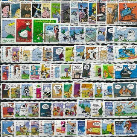 Collection de timbres France oblitérés Bandes Dessinees