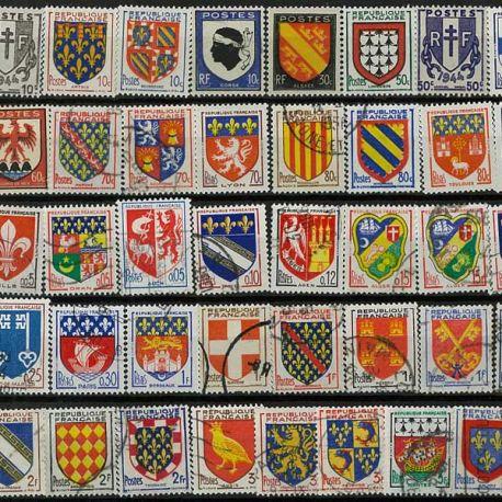 Collection de timbres France oblitérés Blasons