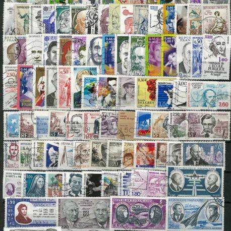 Collection de timbres France oblitérés Celebrites