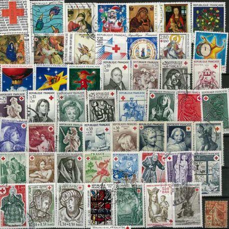 Collection de timbres France oblitérés Croix Rouge