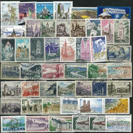 Collection de timbres France oblitérés Sites Et Monuments