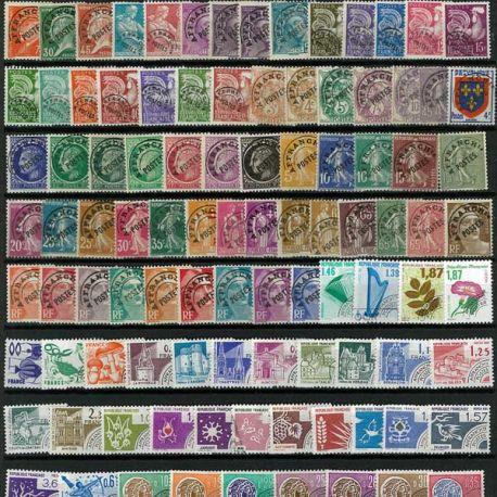Collection de timbres France oblitérés Preos