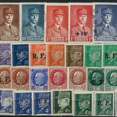 Collection de timbres France oblitérés Petain