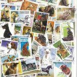 Sammlung gestempelter TierHausBriefmarken