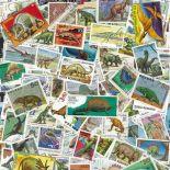 Collezione di francobolli animali preistorici cancellati