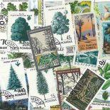 Collezione di francobolli alberi cancellati