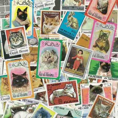 Collection de timbres Chats oblitérés