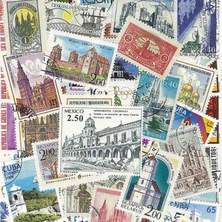 Collection de timbres Eglises oblitérés