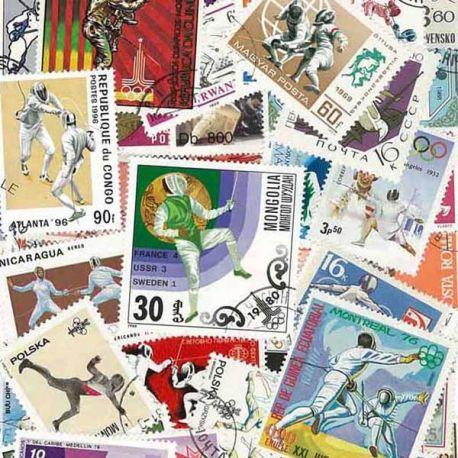 Fechten: 25 verschiedene Briefmarken