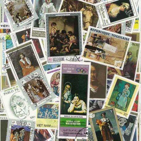 Peintres Espagnols : 100 timbres différents