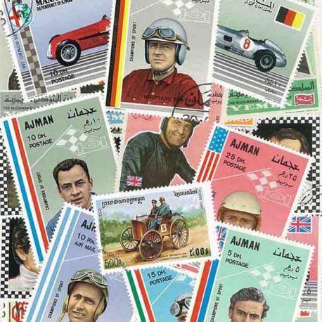 Collection de timbres Pilotes De Course oblitérés