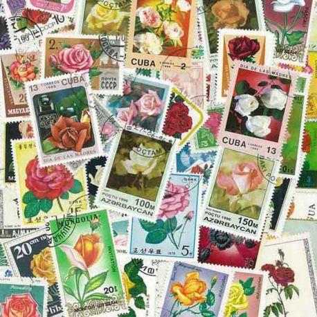 Collection de timbres Roses oblitérés