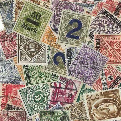 Württemberg - 25 verschiedene Briefmarken