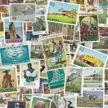 Sammlung gestempelter Briefmarken Sambia