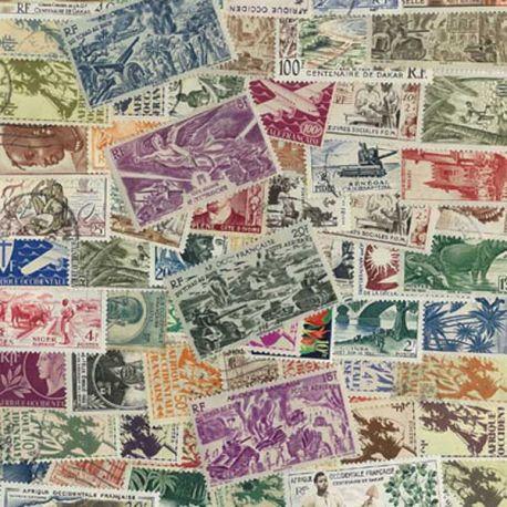 Afrique Occidentale Francaise - 100 timbres différents