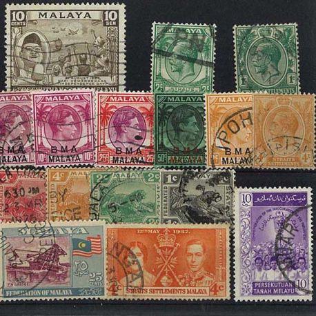 Straits Settlements - 25 verschiedene Briefmarken