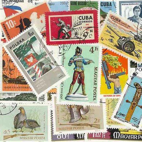 Waffen: 25 verschiedene Briefmarken