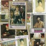 Used stamp collection Manet