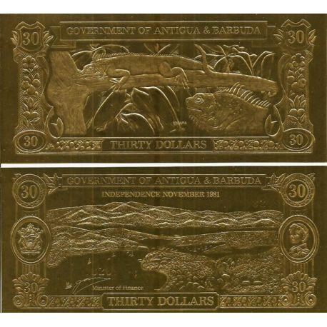 Billet banque Antigua en or de 30 dollars