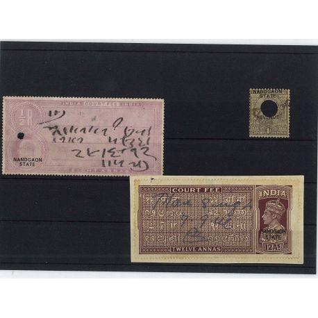 Nandgaon - 3 verschiedene Briefmarken