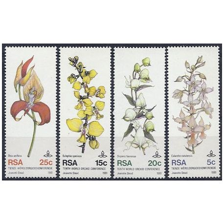 Timbres orchidees Afrique du sud N° 495/498 neufs