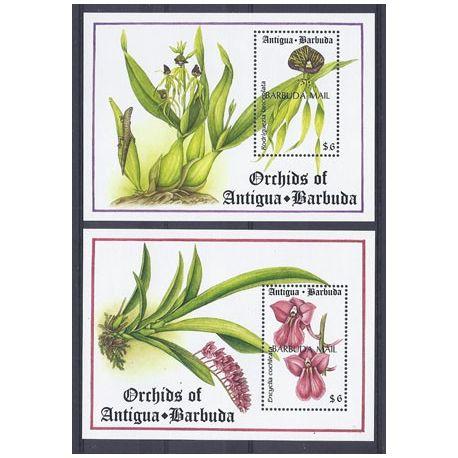 Timbres orchidees Barbuda blocs N° 223/224 neufs