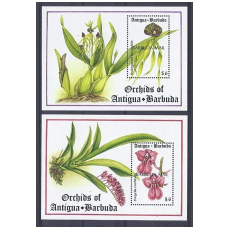 Timbres orchidees Barbuda blocs N° 223/224 neufs