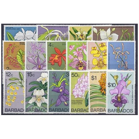 Timbres orchidees Barbade N° 373/388 neufs