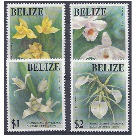 Timbres orchidees Belize N° 996/999 neufs